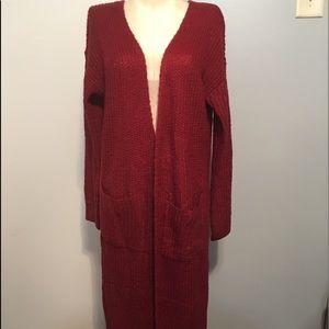 Burgundy knit open duster sweater/ NWOT